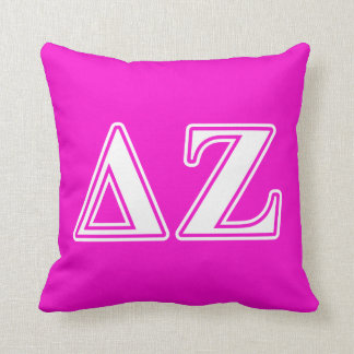 Delta Zeta White and Pink Letters Cushion