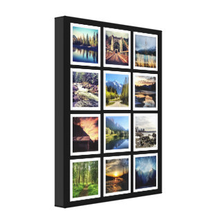 Deluxe 12 Photograph Grid Collage Canvas Prints