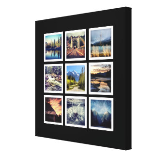 Deluxe 9 Instagram Photograph Grid Collage Stretched Canvas Prints