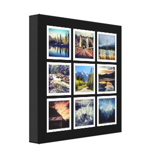 Deluxe 9 Photograph Grid Collage Stretched Canvas Print