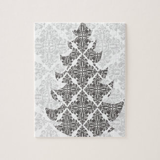 DeLuxe Black and White Damask Christmas Tree Puzzle
