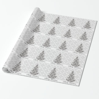 DeLuxe Black and White Damask Christmas Tree Wrapping Paper