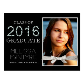 Deluxe Bling and Glitter Glam Grad Photo 2016 Postcard