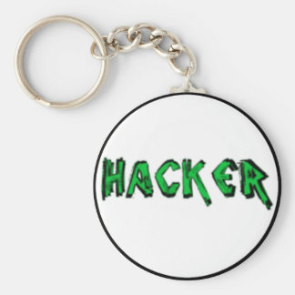 Deluxe Hacker rough font Basic Round Button Key Ring