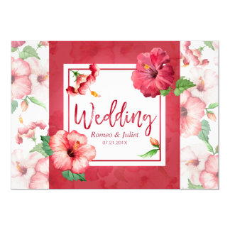 Deluxe Red Hibiscus Floral Wedding Invitation Card