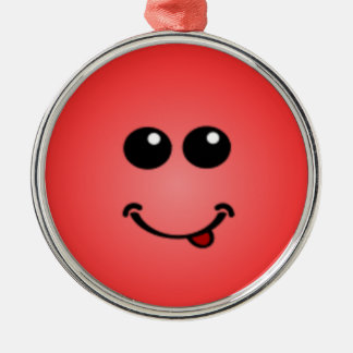 Deluxe Silly Smiley faces Round Metal Christmas Ornament