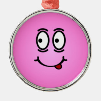 Deluxe Silly Smiley faces Silver-Colored Round Decoration