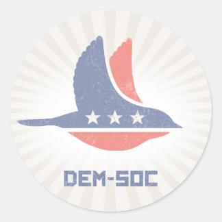 DEM-SOC CLASSIC ROUND STICKER