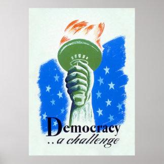 Democracy A Challenge Vintage World War 2 Print