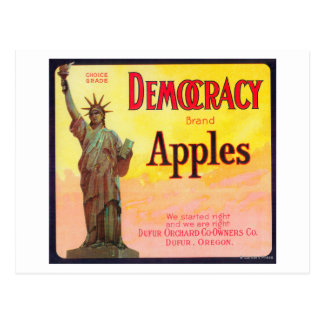 Democracy Apple Crate LabelDufur OR Postcards