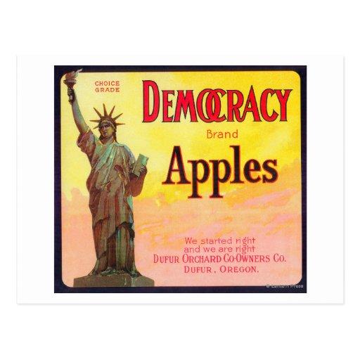 Democracy Apple Crate LabelDufur, OR Postcards