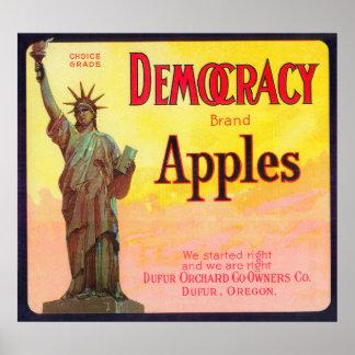 Democracy Apple Crate LabelDufur, OR Print