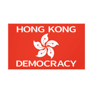 Democracy Hong Kong Orchid Flag Gallery Wrap Canvas