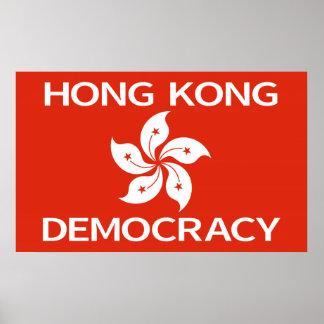 Democracy Hong Kong Orchid Flag Poster