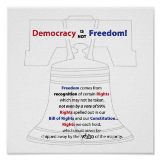 Democracy is not Freedom Poster
