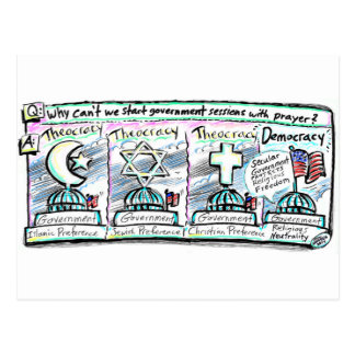 Democracy over Theocracy Postcard