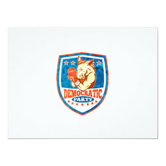 Democrat Donkey Mascot Boxer Shield 17 Cm X 22 Cm Invitation Card