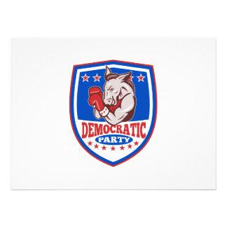 Democrat Donkey Mascot Boxer Shield Personalized Invitations