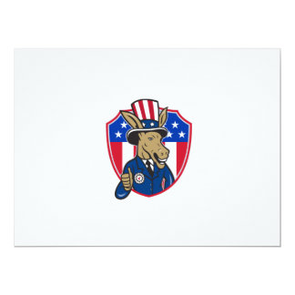 Democrat Donkey Mascot Thumbs Up Flag Cartoon 17 Cm X 22 Cm Invitation Card