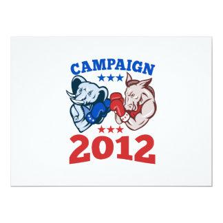 Democrat Donkey Republican Elephant Campaign 2012 17 Cm X 22 Cm Invitation Card