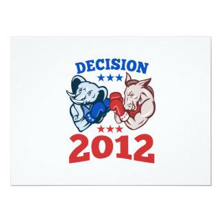 Democrat Donkey Republican Elephant Decision 2012 17 Cm X 22 Cm Invitation Card