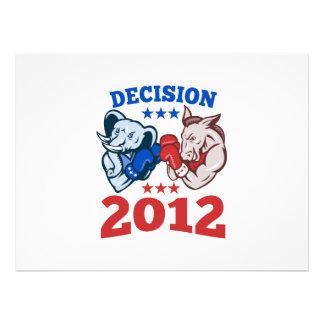 Democrat Donkey Republican Elephant Decision 2012 Custom Announcement