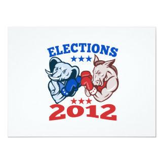 Democrat Donkey Republican Elephant Mascot 2012 17 Cm X 22 Cm Invitation Card