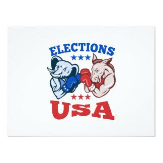 Democrat Donkey Republican Elephant Mascot USA 17 Cm X 22 Cm Invitation Card