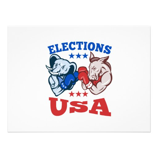 Democrat Donkey Republican Elephant Mascot USA Custom Announcement
