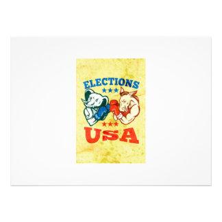 Democrat Donkey Republican Elephant Mascot USA Announcements