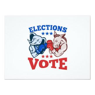 Democrat Donkey Republican Elephant Mascots 17 Cm X 22 Cm Invitation Card