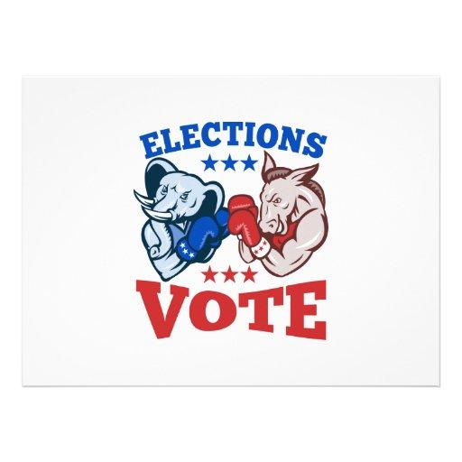 Democrat Donkey Republican Elephant Mascots Invitations