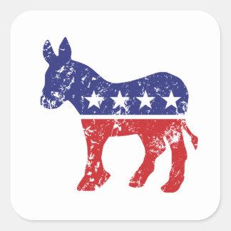 Democrat Original Donkey Distressed Square Sticker