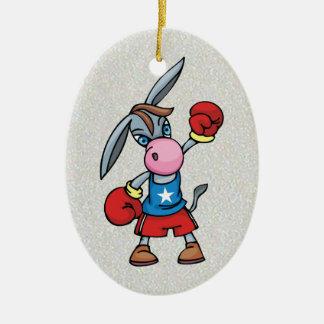 democratic donkey boxing ceramic ornament