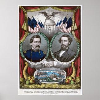 Democratic Presidential Ticket 1864 Poster