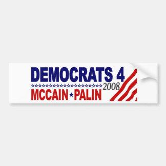 Democrats 4 McCain Palin Bumper Sticker