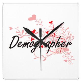 Demographer Artistic Job Design with Hearts Clock