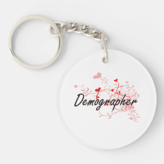 Demographer Artistic Job Design with Hearts Single-Sided Round Acrylic Key Ring
