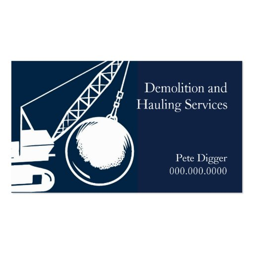 Demolition and Hauling Service Construction Business Card Template