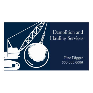Demolition and Hauling Service Construction Pack Of Standard Business Cards