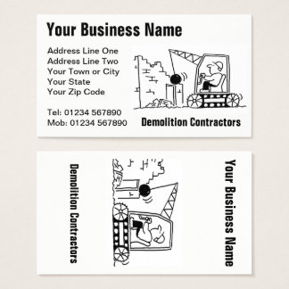 Demolition Contractors Cartoon Business Card