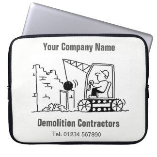 Demolition Contractors Cartoon Computer Sleeve