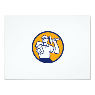 Demolition Worker Hammer Pointing Circle Retro 17 Cm X 22 Cm Invitation Card