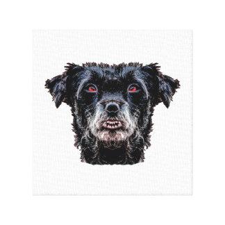 Demon Black Dog Head Canvas Print