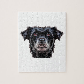Demon Black Dog Head Jigsaw Puzzle