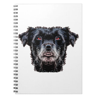 Demon Black Dog Head Spiral Notebook