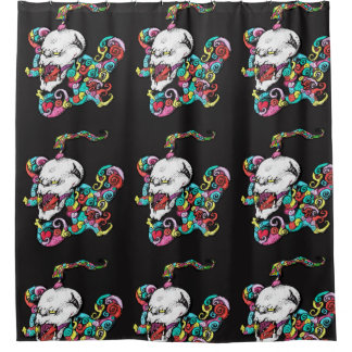 Demon Heart Skull Tiled Shower Curtain