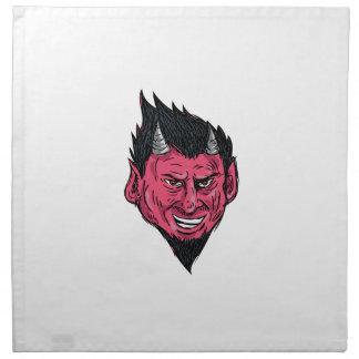 Demon Horns Goatee Head Drawing Napkin