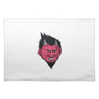 Demon Horns Goatee Head Drawing Placemat