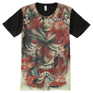 Demon Mask Watercolor Pencil Art All-Over Print T-Shirt